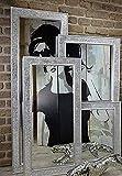 Livitat® Wandspiegel Spiegel Mosaik Badspiegel mit Glasmosaik Crackle 140 x 50 cm Mosaik Silber LV9050