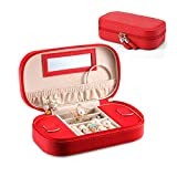 Vlando – Petit boîte à bijoux-organiseur de voyage–Simili-cuir et pompons (noir et rose)