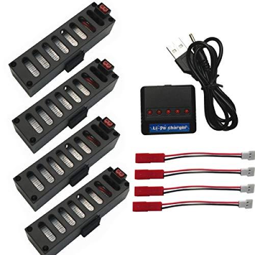ZZBAT Original JY018 e52 Battery 3.7V 600mAh Upgrade Lipo Battery Part 5ni1 USB for JY018 e52 Quadcopter Drone for JY018 Mini Rc Drone-Burgundy