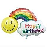 Happy Birthday Rainbow Smiles 45' Mylar Balloon Large