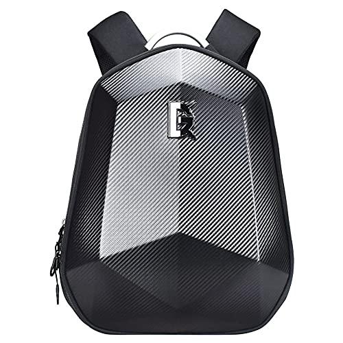 SANLAI Motorcycle Backpack Black Expandable Dual Use Motorbike Helmet Bag Helmet Strap Waterproof Laptop Rucksack Hard Shell Large Capacity Cycling camping