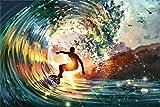 GFSJJ 1000 Piezas Puzzle Adultos 1000 Piezas Surf De Olas Grandes Jigsaw Puzles En Madera para Niño Infantiles Adolescentes Adultos Regalos para Mujer (75 X 50 Cm)