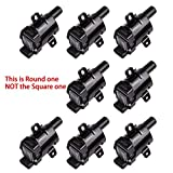 MAS ROUND Ignition Coils on Plug Pack Replacement for Chevrolet GMC V8 4.8L 5.3L 6L UF262 C1251 D-585 E254 E254P 52-1647 GN10119 IC413 10457730 19005218 8-10457-730-0 Set of 8