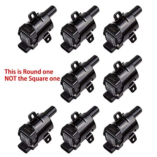 MAS ROUND Ignition Coils on Plug Pack For Chevrolet GMC V8 4.8L 5.3L 6L UF262 C1251 D-585 E254 E254P 52-1647 GN10119 IC413 10457730 19005218 8-10457-730-0 Set of 8