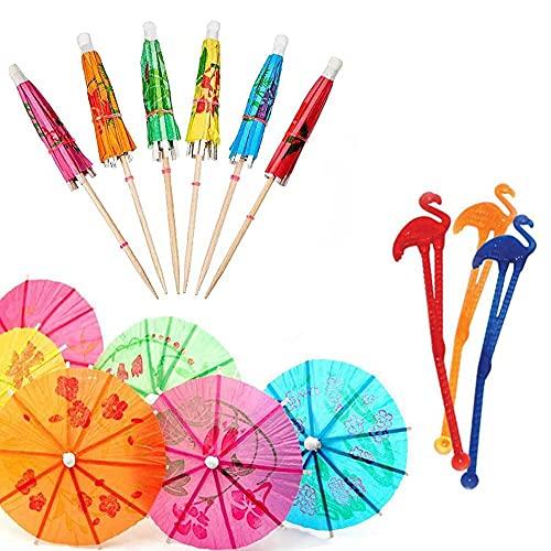 24 stuks Cocktail Paraplu Sticks, 24 stuks Flamingo Swizzle Sticks roerders, Party Drink Swizzle Sticks, voor bruiloften…