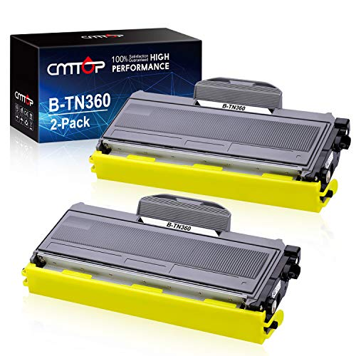 CMTOP Compatible Toner Cartridge Replacement for Brother TN360 TN-360 High Yield Toner to use with Brother HL-2170W HL-2140 MFC-7840W MFC-7340 MFC-7345N DCP-7040 DCP-7030 DCP-7045N Printer (2 Black)