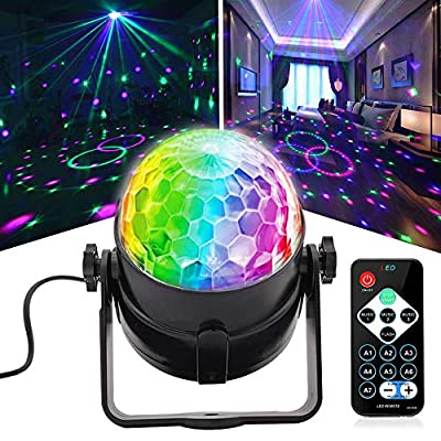 Disco Ball DJ Party Lights, Sound Activated Lighting Strobe Stage Lights with Remote Control 7 Colors RGB Projection Effects for Party Holiday KTV Bar Wedding Christmas Karaoke DJ Club