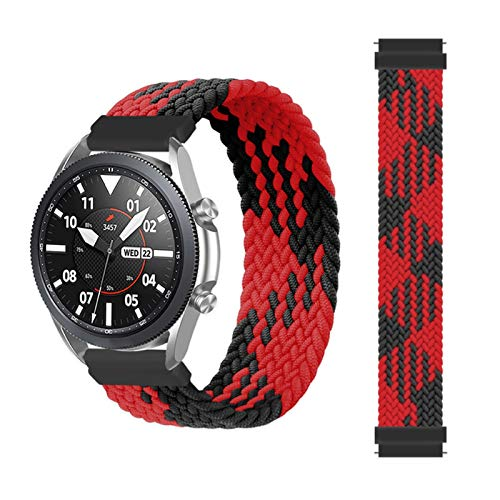 MPWPQ Correa trenzada para Samsung Galaxy Watch 3/46mm/42mm/active 2/Gear S3 para Huawei Watch GT/2/2e/Pro (Color de la correa: rojo entre negro, tamaño: XS (20 mm)