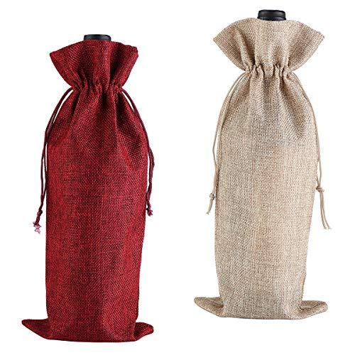 Bolsa de arpillera para Vino, 2 Piezas, con Cordones, Reutilizables, para Botellas de Licor, para Fiestas y Vacaciones (Rojo, Color primario)