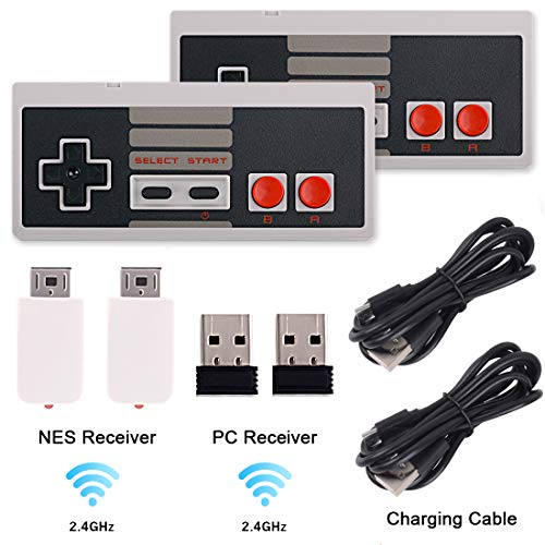 2 Pack NES Wireless Controller, Nes Classic Controller No-Wired for Nintendo Classic Mini Edition, Rechargeable Wireless Gamepad Joypad for Nintendo NES/SNES Classic Console Game System