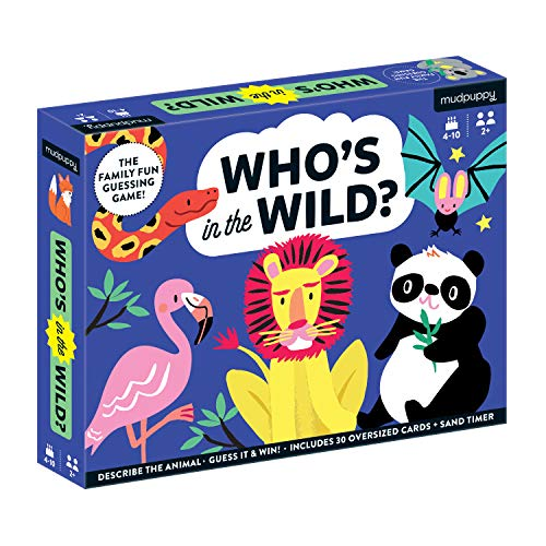 Mudpuppy Who's in The Wild? Game – Card Game for Families, Guessing Game for Kids Ages 4-10 – Easy to Play for 2+ Players, Includes 30 Oversized Cards and Sand Timer, Makes a Great Gift