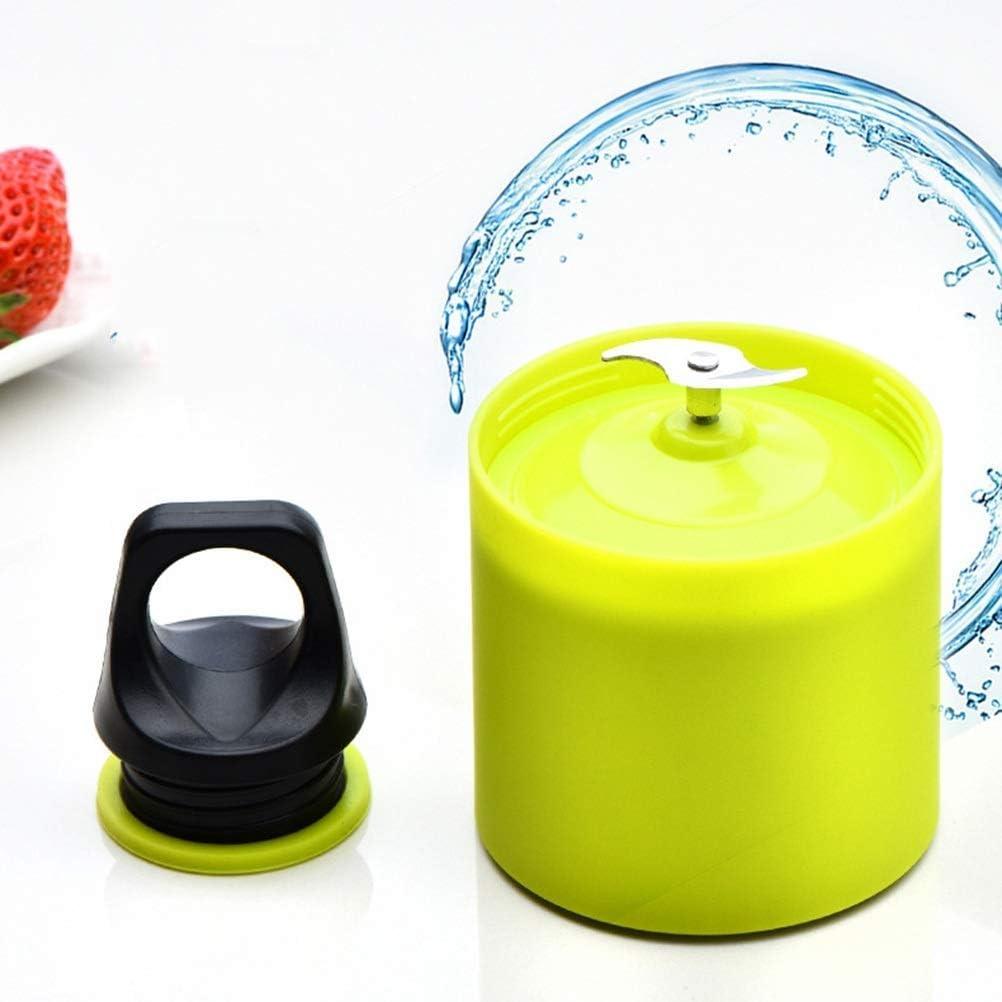 Portable Juicer Cup 500Ml Pequeña Licuadora Extractor de Jugo de Frutas Mezclador Fruit Maker Cup Usb Recargable con 2 Cuchillas, O&YQ, Verde Rosado