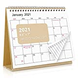 SKYDUE Desk Calendar 2021,7' x 8.5' Desktop Flip Monthly Calendar, Jan 2021 to Dec 2021, 12 Months Stand Up Calendar with To-Do list Suit for Office, School (Kraftpaper)