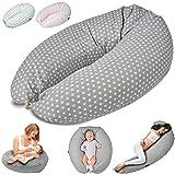 SMOOTHY Stillkissen Schwangerschaftskissen zum Schlafen, Erholen & Stillen Seitenschläferkissen Lagerungs-Kissen für Mutter und Baby mit hochwertiger EPS-Perlen Füllung (Grau)