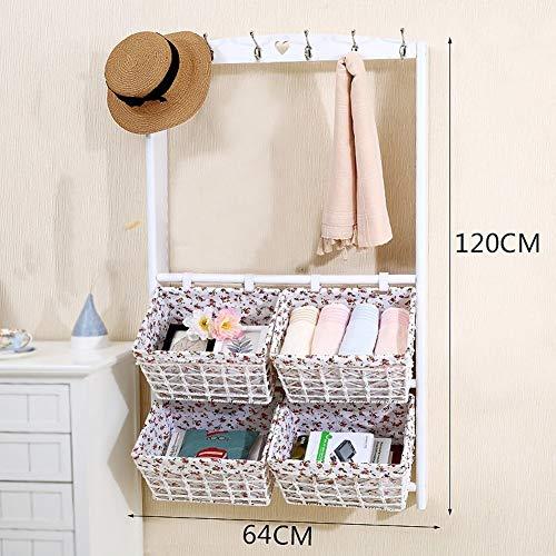Kleding rail Sjaal wandkapstok Storage Basket Planken Entree Woonkamer 6 Hooks Kapstok (Color : B, Size : 64X120cm)