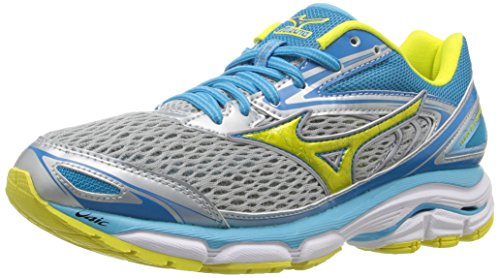 Mizuno Women's Wave Inspire 13 Running Shoe, Grey/Yellow, 6 D US