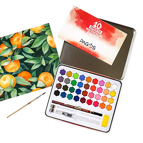 Pagos Watercolor Paint Set – Art Kit of 36 Vivid Colors w 10 Sheets Water Color Paper – Refillable Brush Sponge Drawing Pencil, Brush, Gift Set for Adults Kids Beginners Artists Students (Basic Set)