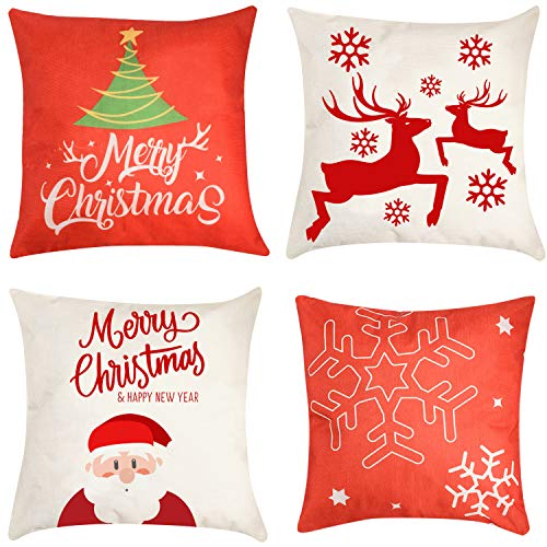 Christmas Pillow Cover Decorations - 4 PCS 18'x18' Christmas Decorative Couch Pillow Cases Cotton Linen Pillow Square Cushion Cover for Sofa, Couch, Bed and Car (Red)