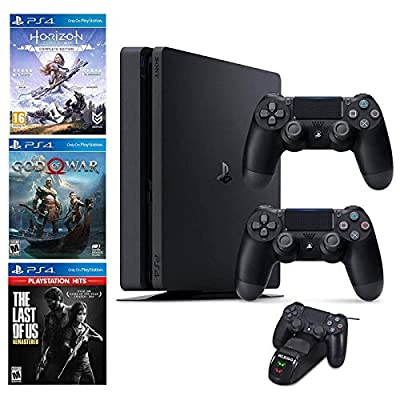 NexiGo 2020 Playstation 4 PS4 1TB Console with Two Dualshock 4 Wireless Controller Holiday Bundle, Included 3X Games (The Last of Us, God of War, Horizon Zero Dawn) + Charging Dock Bundle from NexiGo
