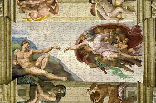 warmwfw Creación de Adán por Michelangelo Rompecabezas de Madera de 1000 Piezas, 75 * 50 CM