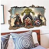 Gamloious Amovible 3D The Avengers Hulk Ultron Enfants Autocollant Sticker Mural Papier Peint décor Un