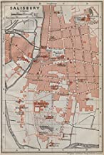 Salisbury Town City Plan. St Mary's Cathedral. St Edmunds. Wiltshire - 1910 - Old map - Antique map - Vintage map - Printed maps Wiltshire