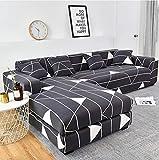 BYVSYS Cubierta blanca rayada del sofá del patrón del triángulo, utilizado para la decoración interior de los muebles sofá 3 plazas gris oscuro