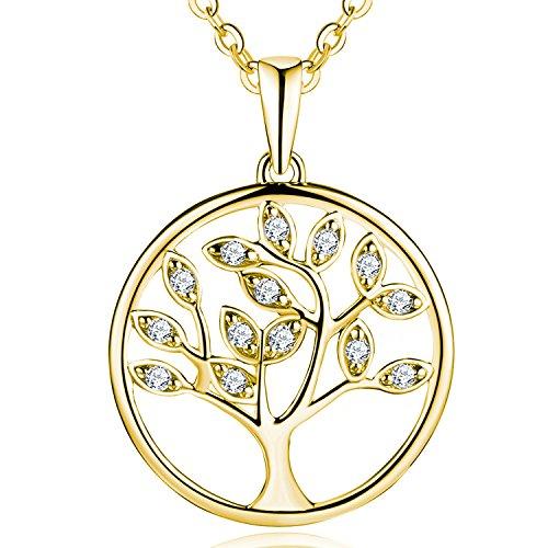 amen Halskette Lebensbaum 925 Silber Zirkonia Kristall Baum des Lebens Yggdrasil Anhänger mit Kette damen schmuck (vergoldet,Zirkonia)