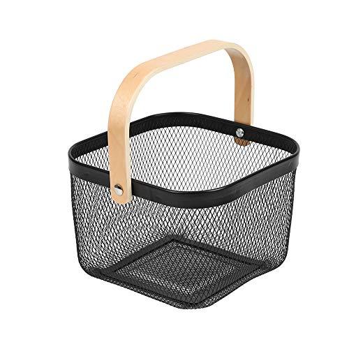 JHY DESIGN Cesta de frutas de encimera de malla metálica con asas Organizador de almacenamiento Cesta Soluciones de cestas olgantes multifuncionales para contenedores hogar encimera(negro)