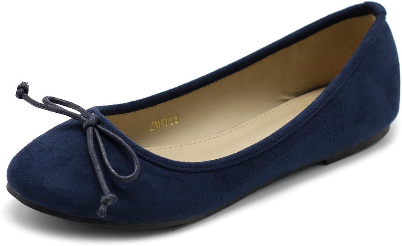 Ollio Women's shoes Faux Suede Ribbon Ballet Flat ZM1703 (10 B(M) US Navy)