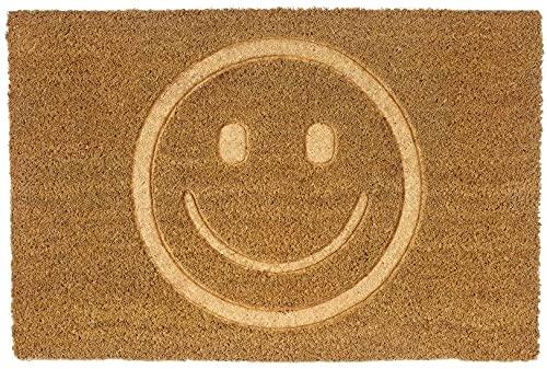TIENDA EURASIA® Felpudos Entrada Casa Originales y Divertidos Smile - Material : Fibra de Coco HQ con Base Antideslizante de PVC - Medidas : 40x60 cm