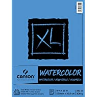 """Canson (100510941) XL Series Watercolor Pad, 9"""" x 12"""", Fold-Over Cover, 30 Sheets"""