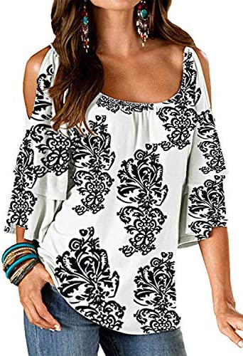Merryfun Women s Summer Cold Shoulder Ruffle Sleeve Loose Stretch Tops White XL product image