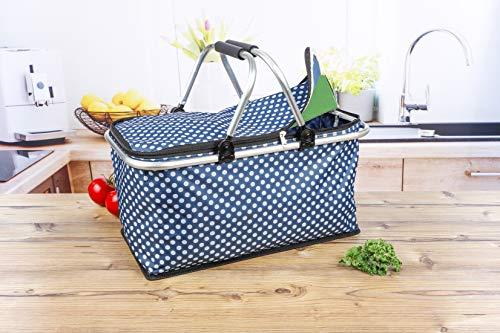 e-Best - Cestino per la spesa con manici imbottiti, per picnic, pieghevole, colore: Blu con pois bianchi