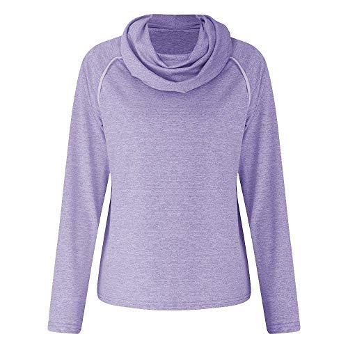 Sweatshirts voor vrouwen dames, vrouwen Plus Mode Hoodies & Sweatshirts, Womens Winter Lange Mouw Effen Coltrui Patchwork Sweatshirt Casual Blouse Paars, L