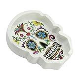 com-four Cendrier Skull avec Trois Porte-Cigarettes, 11,5 x 8, 5 cm, Blanc (Crâne Blanc - 01...
