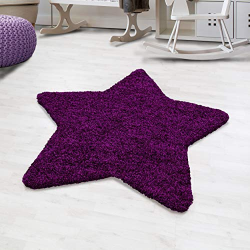 Hochflor Shaggy Teppich Uni Sternförmig Kinderteppich Jugendzimmer Sternteppich, Farbe:Lila, Größe:130 cm Stern