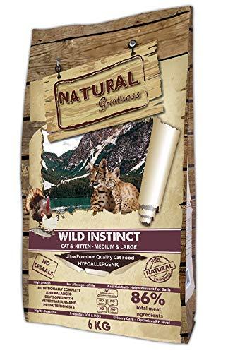 Natural Greatness Pienso seco para Gatos Receta Wild Instinct. Ultra Premium - Cat & Kiiten Medium & Large - Todas Las Razas. 6 kg