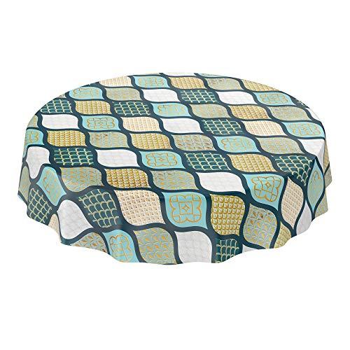 Anro - Mantel de hule lavable, diseño de cuadros, color dorado, plateado y gris, verde, Rund 120cm Schnittkante