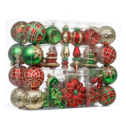 Valery Madelyn 108ct Traditional Christmas Ball Ornaments, Green Red and Gold, Shatterproof Xmas Balls for Christmas Tree Decoration, Themed with Tree Skirt (Not Included)