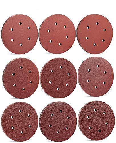 Supremery 90x Papel de Lija con Velcro Redondo para lijadora de órbita aleatoria - Juego de muelas abrasivas de Grano 40-400 ø 150mm para Productos derivados de la Madera Aglomerados Metálicos