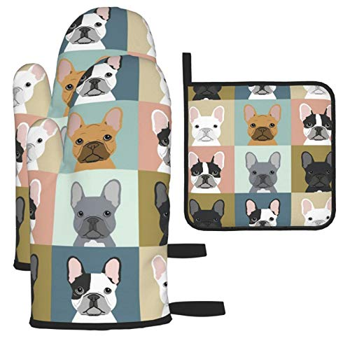 French Bulldog Dog Cute Oven Mitts Heat Resistant Hot & Pot Holders for Kitchen Set,for BBQ Cooking Baking, Grilling, Machine Washable