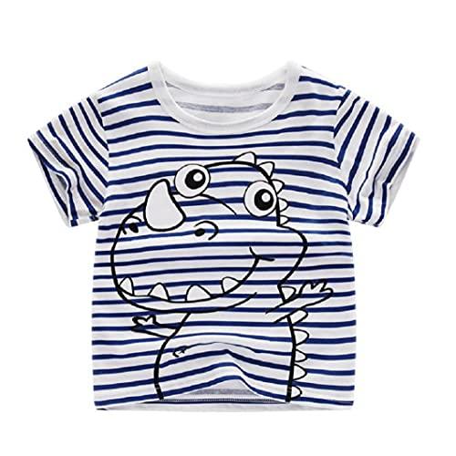 NiceJoy Make-up-Produkte Kleinkind T-Shirt-Kind-druckt Kurzarm T-Shirt Top-Baby-mädchen-Sommer-Baumwoll Outfit Blauer Streifen 100cm