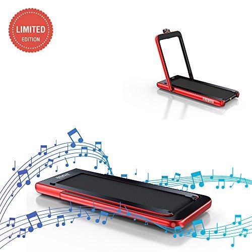 Fitifito ST100 Edles Laufband Profilaufband 1.0-12 km/h Bluetooth Fernbedienung komplett klappbar verstaubar mit Handyhalter Rot