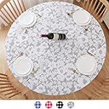 Round Tablecloth, Fitted Round Plastic Vinyl Table Cloths with Flannel Backing and Elastic Edge, Waterproof Table Protector for Outdoor Patio Kitchen Dining Room (40