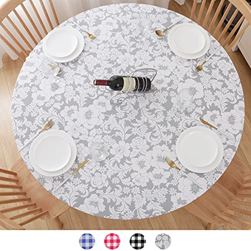 Round Tablecloth, Fitted Round Plastic Vinyl Table Cloths with Flannel Backing and Elastic Edge, Waterproof Table Protector for Outdoor Patio Kitchen Dining Room (40'-44' Floral Small)