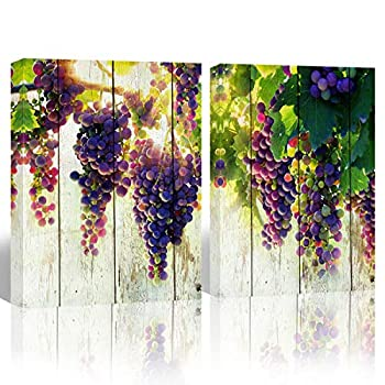 Mon Art Purple Grape Fruit Picture Wall Art for Kitchen Dining Room Decoration Watercolor Fruits Canvas Print Painting Artwork Prints on Canvas Print Modern Vintage Home Decor Framed,12 x16 x2P,Green