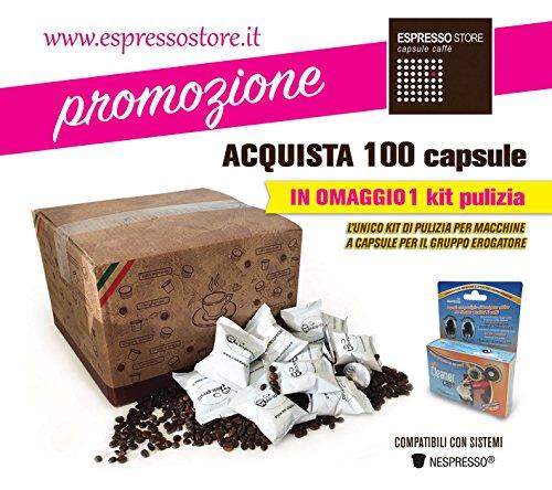 100 capsule Nespresso compatibili + kit pulizia disincrostante macchine Nespresso + Decalcificante