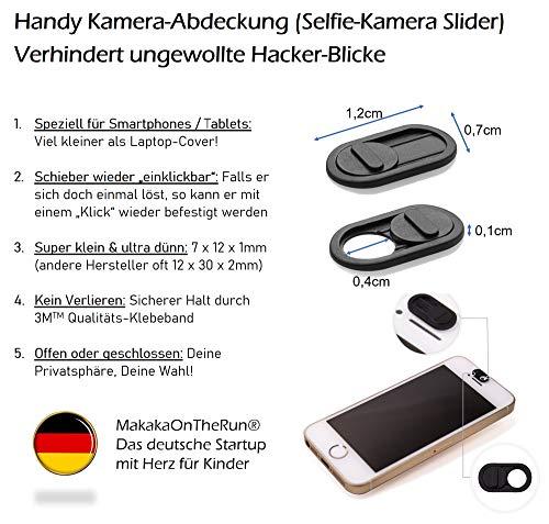 MakakaOnTheRun 5X Handy Kamera Abdeckung, Ultra dünn, Slider Webcam Cover für Android Smartphone, Tablet, iPad, iPhone, MacBook, Laptop, Notebook (schwarz)