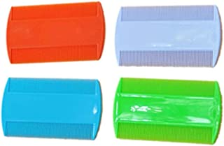 LUFA 2 UNIDS Plástico Puro Color Fine Tooth Head Lice Pulga Peines Pet Combs Doble Cara Nit Kids (color al azar)